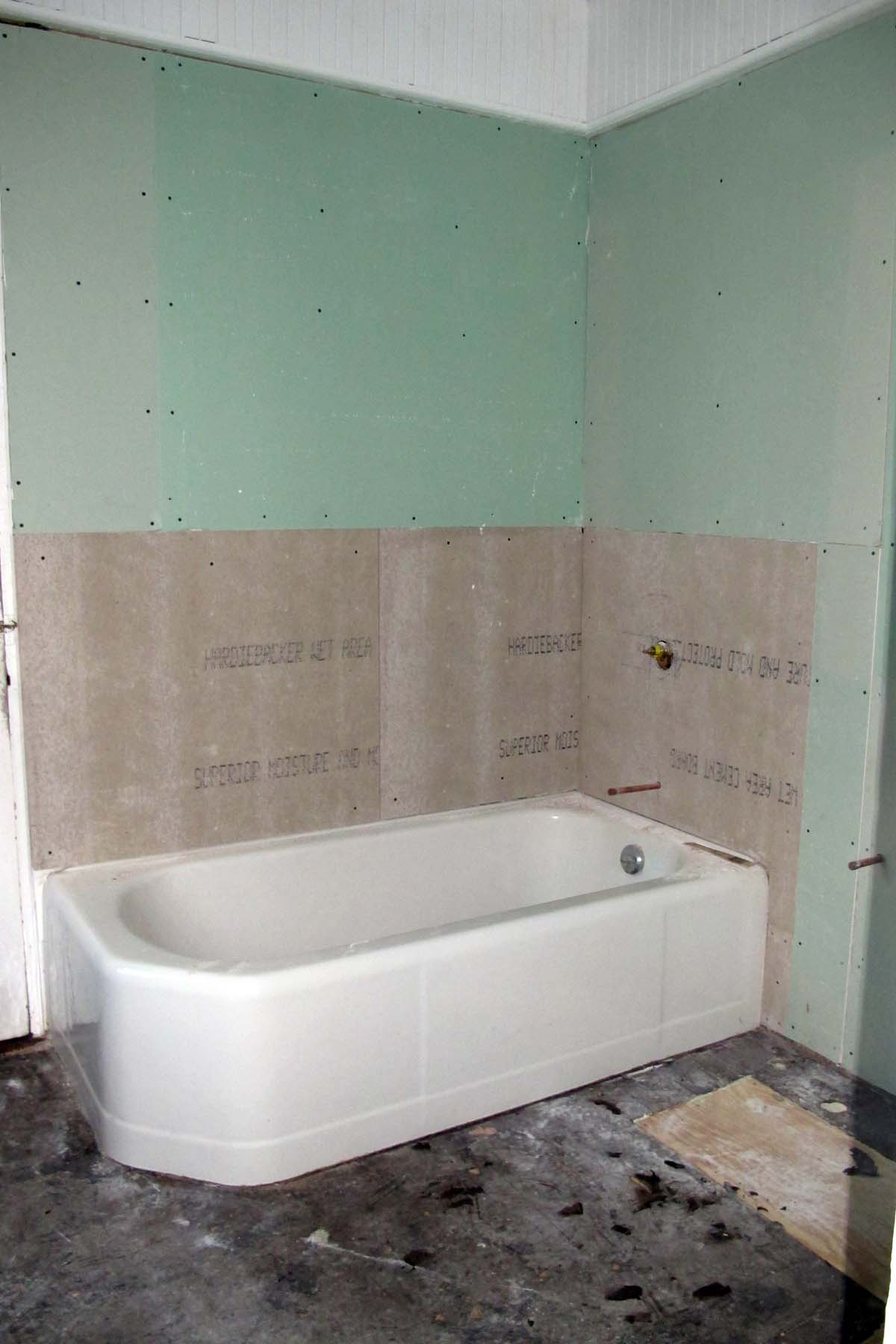 Upstairs bathroom renovation 2011 - Installing tile around bathtub ...